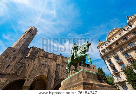 Statue of Ramon Berenguer III (1086-1131) in the homonymous square. In the background the Chapel of St. Agata. Barcelona Catalonia Spain poster