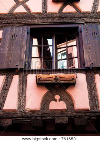 Pink / Orange Timber Frame House In Alsace