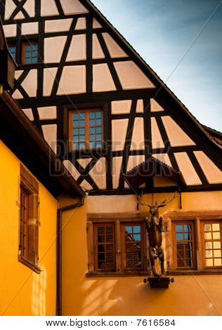 Yellow Timber Frame House In Alsace
