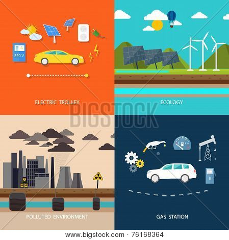 Power plant. Electric cars and petrol car