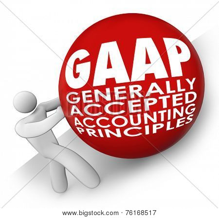 GAAP acronym or abbreviation on a ball or sphere rolled uphill by an accounting following generally accepted accounting principles
