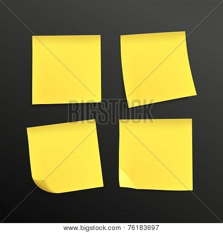 Blank Yellow Sticky Notes Set