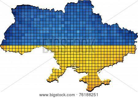 Ukraine map with flag inside