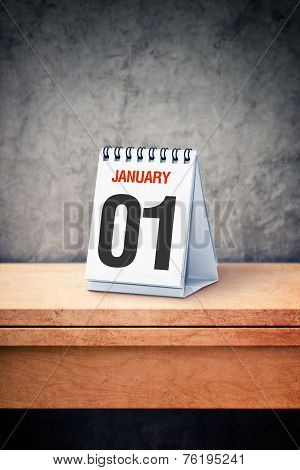 January The 01St On Desk Calendar At Office Table