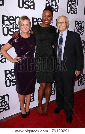 LOS ANGELES - NOV 11:  Amy Poehler, Aisha Tyler, Norman Lear at the PEN Center USA 24th Annual Literary Awards at the Beverly Wilshire Hotel on November 11, 2014 in Beverly Hills, CA