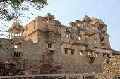 Backlit frontal view of Rana Kumbh Palace at Chittorgarh Fort Rajasthan India Asia poster