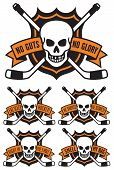 Vector hockey emblem with skull and crossed hockey sticks over puck with the words Drop The Puck. Easy to edit and scalable vector illustration. Great for shirts. team mascots, posters, etc. poster
