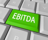 EBITDA word acronym on a computer keyboard key or button to calculate profit, revenues and earnings before interest, tax, depreciation and amortization poster
