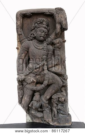 KOLKATA, INDIA - FEBRUARY 15:  Gajasurasamhara murti of Siva, from 10th century found in Khondalite, Puri, Circuit house, Odisha now exposed in the Indian Museum in Kolkata, on February 15, 2014