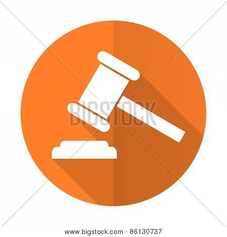 auction orange flat icon court sign verdict symbol