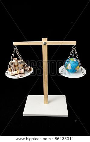 Earth and Money on a Two Pan Balance