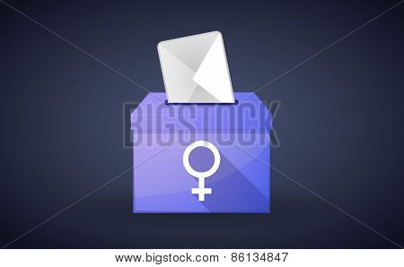 Ballot Box With A Vote And A Female Sign