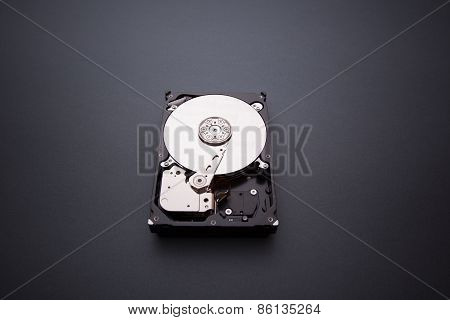 Hard disk drive HDD on gray background poster