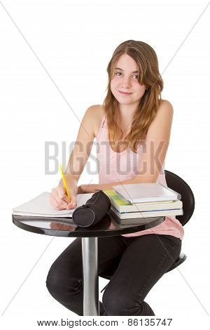Girl Studying By Table