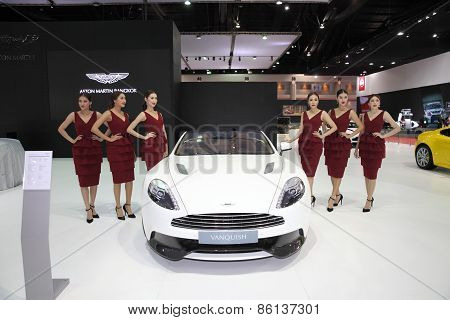 BANGKOK - MARCH 25: Aston Martin Vanquish car with Unidentified model on display at The 36 th Bangko