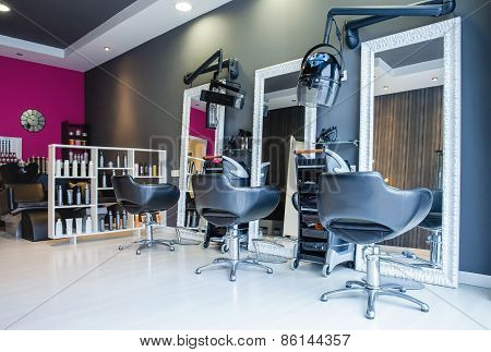 Interior of empty modern hair and beauty salon