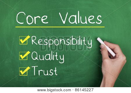Core values concept hand writing responsibility quality and trust poster