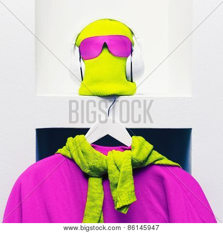 Extreme Sports Fashion Accessories. Bright Cap, Sunglasses, Headphones And Sweatshirt On White Backg