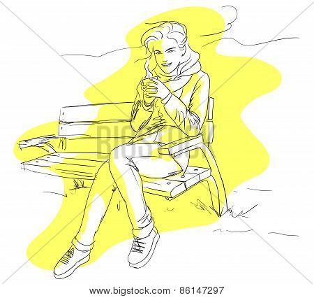 Girl Drinking  Coffee Or Tea