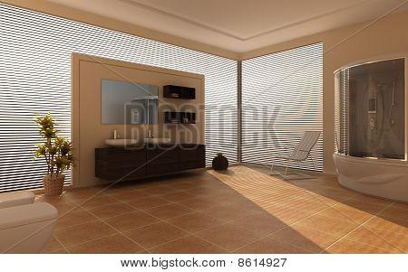 Modern interior of a bathroom