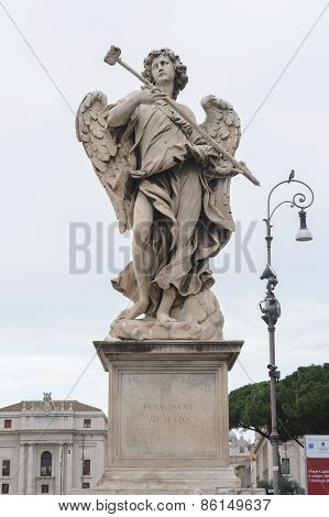 Angel with the Sponge is a statue on the Ponte Sant'Angelo in Rome Italy. Ponte Sant'Angelo is a bridge in front of the Castel Sant'Angelo. poster