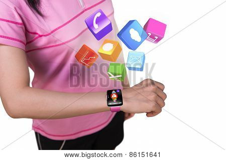 Sport Female Wearing Touchscreen Smartwatch With Colorful App Icons
