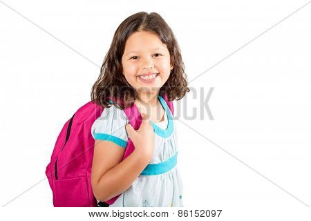 Little girl with backpack on her way to school