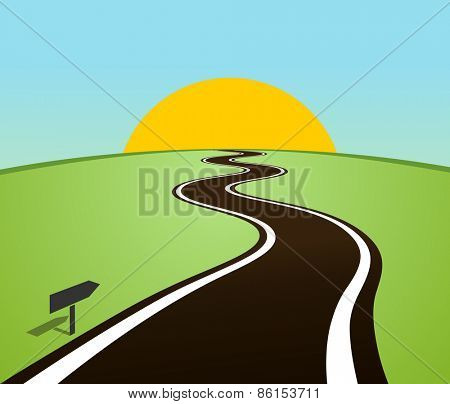 Winding road in the field over the horizon. Sun over the hill. Vector illustration