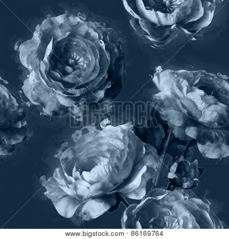 art vintage monochrome floral seamless pattern with white peonies on blue grey background