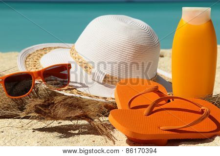 Sun Protection Items And Flip-flops