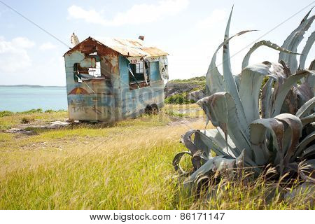 Rusty Trailer By The Sea In Antigua