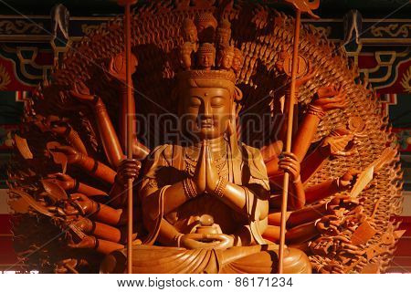 Guan Yin Sculpture Thousand Hand Carved Of Wood