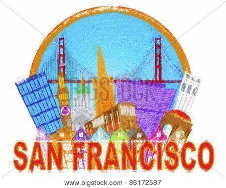 San Francisco Abstract Skyline Golden Gate Bridge Impressionist Illustration