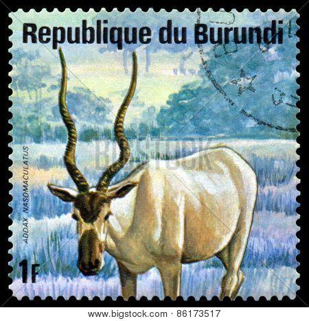 Vintage  Postage Stamp. Addax. Animals Burundi.