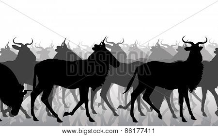 EPS8 editable vector cutout illustration of a herd of adult wildebeest