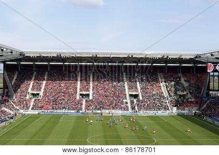 German soccer league match Mainz against Wolfsburg