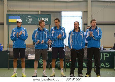 DNEPROPETROVSK, UKRAINE - APRIL 6, 2013: Ukrainian team before Davis Cup match against Sweden. Left to right: Denis Molchanov, Illya Marchenko, Sergey Stakhovsky, Alexander Dolgopolov, Mikhail Filima