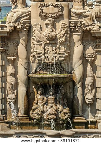 Salto Del Agua Fountain In The Historic Center Of Mexico City