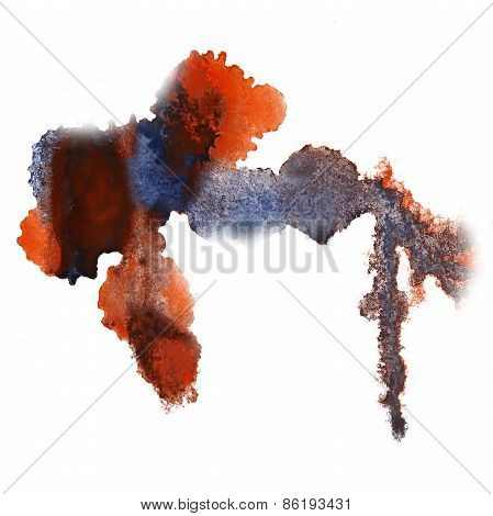 abstract hand gray, orange drawn watercolor blot insult Rorschac
