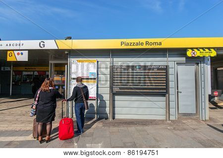 Venice, Italy - Mar 18 - Actv Ticket Office Station Piazzale Roma On Canal Grande On Mars 18, 2015 I