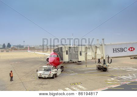 Paris - Mars 21 : Hsbc Billboard On The Gangway In The Airplane On Airport Of Orly On Mars 21, 2015