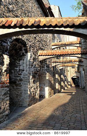 Tallinn, Old Town. Famous medieval Catarina lane poster