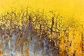 Creative background of rusty metal with cracks and scratches casually painted yellow. Grungy metal surface. Great background or texture for your project. poster