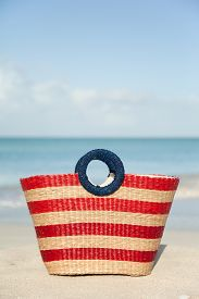 Striped Wicker Beach Bag