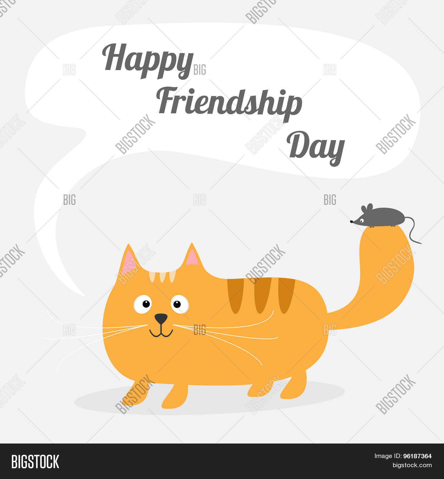 Happy Friendship Day Cute Cartoon Red Cat With Mouse Talk Think Bubble  Card. Kids Background