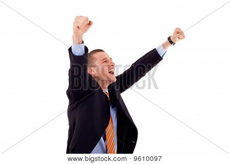 Successful Gesturing Business Man