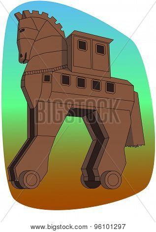 Copy of ancient troy trojan horse in turkey