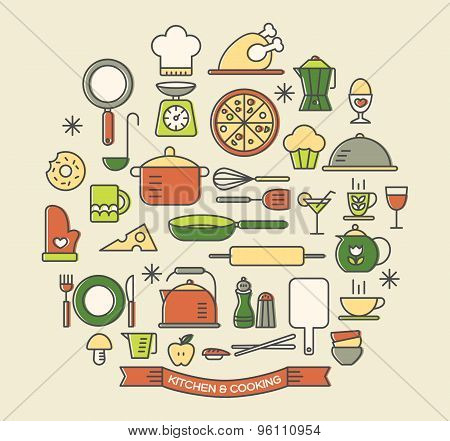 Cooking Foods And Kitchen Color Icons Set