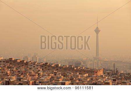 Sunset Light On Skyline Of Air Polluted Tehran