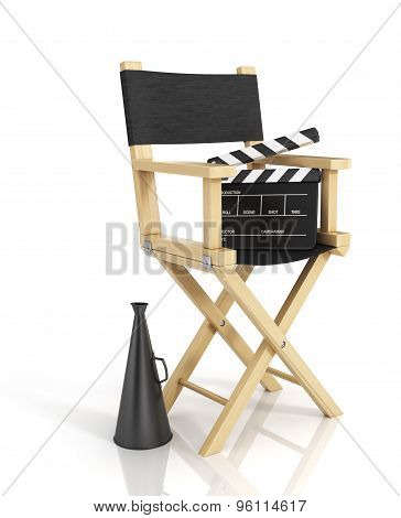 Illustration Of Director Chair, And Over Filmmaker Equipment, Over White Background.